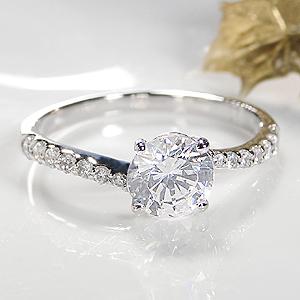 ジュエリー・アクセサリー・レディース・指輪・リング・プラチナ・ダイヤモンド・ダイヤ・一粒・大粒・ダイアモンドpt900・ダイヤモンド ・送料無料・刻印無料・品質保証書付・1.2ct・1カラット・pt900・SI・Hカラー・ウエーブ
