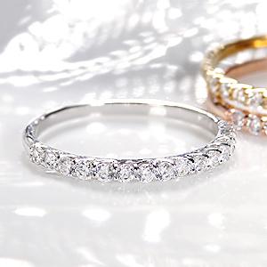 ファッション ジュエリー アクセサリー レディース 指輪 ダイヤ リング ダイヤモンド リング イエローゴールド ホワイト ゴールド ピンク ゴールド 送料無料 刻印無料 品質保証書付 プレゼント ダイヤ エタニティ ハーフエタニティ 4月 誕生石 細身 重ね着け
