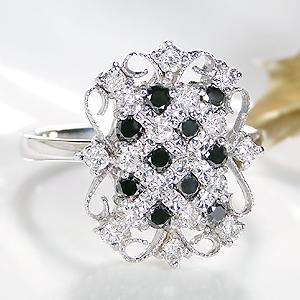 ファッション ジュエリー アクセサリー レディース 指輪 リング K18WG 18金 ホワイトゴールド ダイヤモンドリング ブラック ダイヤ リング  ミル打ち アンティーク 4月 誕生石 プレゼント ギフト 送料無料 刻印無料 品質保証書付