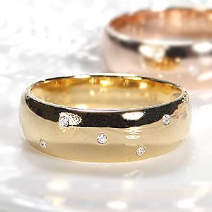 ファッション ジュエリー アクセサリー レディース 指輪 ダイヤ リング ダイヤモンド リング ゴールド ホワイトゴールド ピンクゴールド イエローゴールド ドット 水玉 甲丸 重ねづけ 送料無料 刻印無料 品質保証書付 4月 誕生石