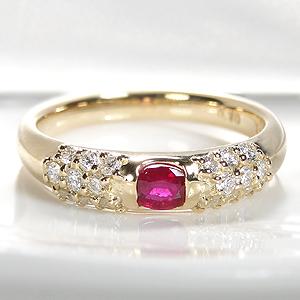 K18YG ルビー &ダイヤモンド リングレディース 指輪 リング イエローゴールド ダイヤリング ルビーリング ダイアモンド ダイア 送料無料 刻印無料 品質保証書付 誕生石 4月 7月