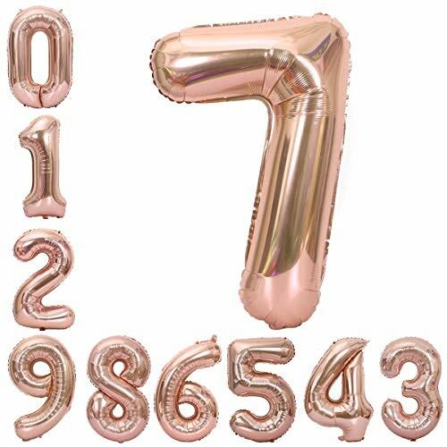 誕生日 飾り 風船 セット 90CM 数字 0-9 バルーン バースデー パーティー 飾り付け の風船の数字 ピンク (7)