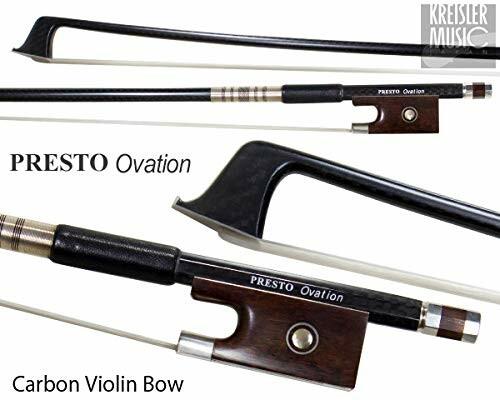 バイオリン弓 Presto Ovation 返品送料無料 最上質カーボン 4サイズ 4 白銅仕様 新発売 スネークウッドフロッグ