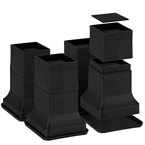 Uping テーブル ベッドの高さ調節が簡単にできる ベッドの高さをあげる足 4個セット 直営ストア 高さを上げる 価格 交渉 送料無料 高さ調節脚 こたつ 継足し 継ぎ足 矩形 高さ17.6cm テーブル脚台 暖房器具 凹みが無い 高さ調整 耐荷重1000kg ブラック