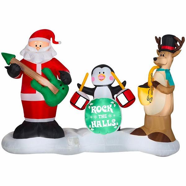 送料無料 サンタ音楽隊 サンタクロース クリスマス エアブロー エアバルーン クリスマス装飾デコレーション ディスプレイ 風船 サンタインツリー