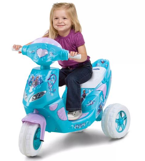 【送料無料】ディズニー Frozen 『アナと雪の女王』エルサ 映画 電動スクーター 乗り物 おもちゃ バイク  海外直輸入 水色x白色