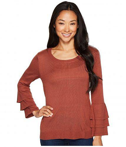 送料無料 B Collection by Bobeau ビーコレクション レディース 女性用 ファッション セーター B Collection by Bobeau ビーコレクション Cora Ruffle Sleeve Sweater - Redwood