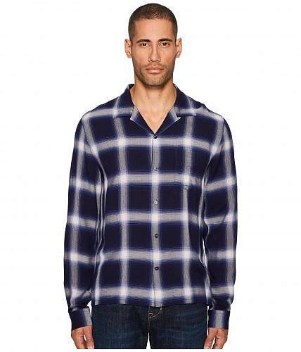 ヴィンス Vince メンズ 男性用 ファッション ボタンシャツ Ombre Plaid Long Sleeve Shirt - Blue
