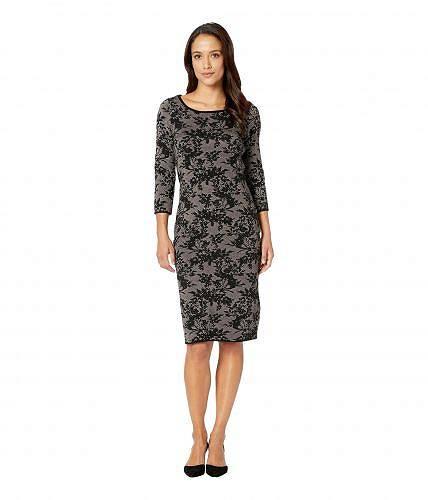 送料無料 テーラー Taylor レディース 女性用 ファッション ドレス パーティドレス Floral Print Midi Sweater Dress - Black/Blush
