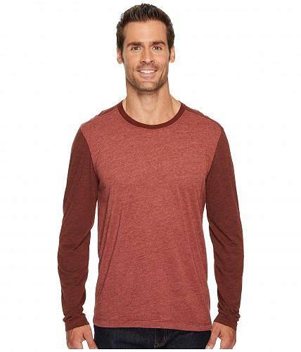 送料無料 Agave Denim アゲイブデニム メンズ 男性用 ファッション Tシャツ Agave Denim アゲイブデニム Shoaling Long Sleeve Color Block Neps T-Shirt - Burnt Henna