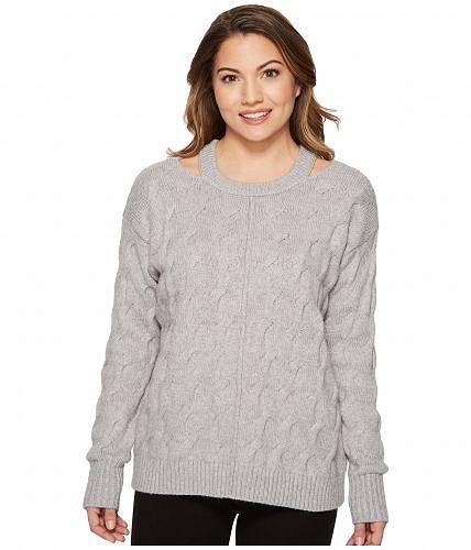 ヴィンスカムート Vince Camuto Specialty Size レディース 女性用 ファッション セーター Petite Long Sleeve Cable Sweater with Neck Cut Out - Light Heather Grey