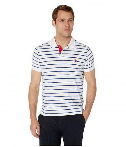 送料無料 USポロ U.S. POLO ASSN. メンズ 男性用 ファッション ポロシャツ Slim Fit Fine Stripe Polo - White