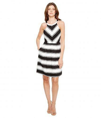 送料無料 アドリアナパペル Adrianna Papell レディース ドレス パーティドレス Printed Stripe Stretch Cotton Halter Neck Fit and Flare Dress - Black/White