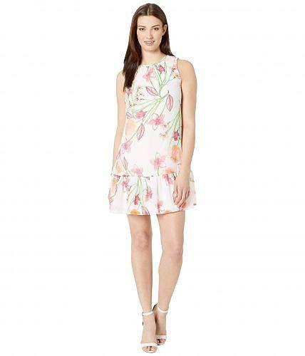 送料無料 カルバンクライン Calvin Klein レディース 女性用 ファッション ドレス Floral Chiffon Dress w/ Ruffle Hem - Ember Multi