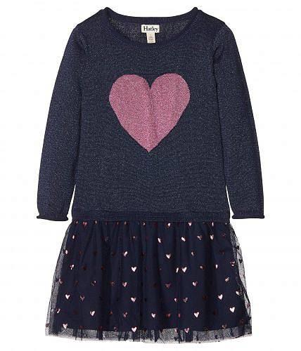 送料無料 Hatley Kids 女の子用 ファッション 子供服 ドレス パーティドレス Glitter Heart Drop Waist Dress (Toddler/Little Kids/Big Kids) - Blue