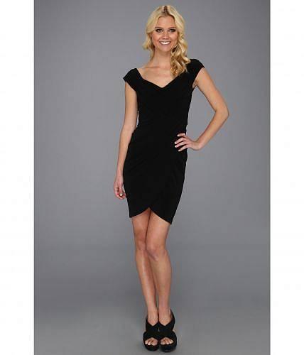 送料無料 二コールミラー Nicole Miller レディース 女性用 ファッション ドレス Stella Matte Jersey Sleeve Dress - Black