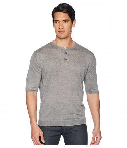 eleventy メンズ 男性用 ファッション Tシャツ Short Sleeve Linen Henley - Light Grey