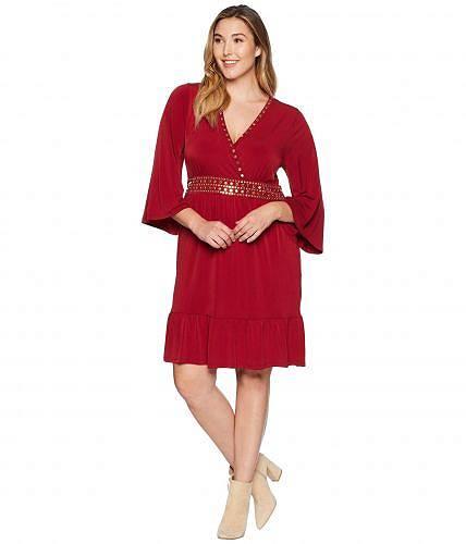 マイケルコース MICHAEL Michael Kors レディース 女性用 ファッション ドレス Plus Size Hardware Deep Vee Dress - Maroon