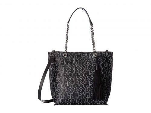 カルバンクライン Calvin Klein レディース 女性用 バッグ 鞄 トートバッグ バックパック リュック Signature Top Zip Chain Tote - Black/White