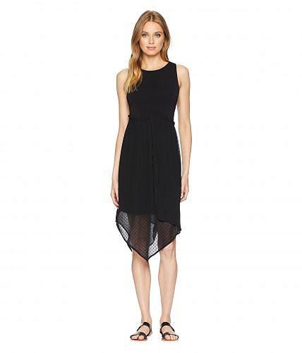 送料無料 ケンジー kensie レディース 女性用 ファッション ドレス パーティドレス Mixed Media Knit and Swiss Dot Asymmetrical Hem Dress KS7K8230 - Black