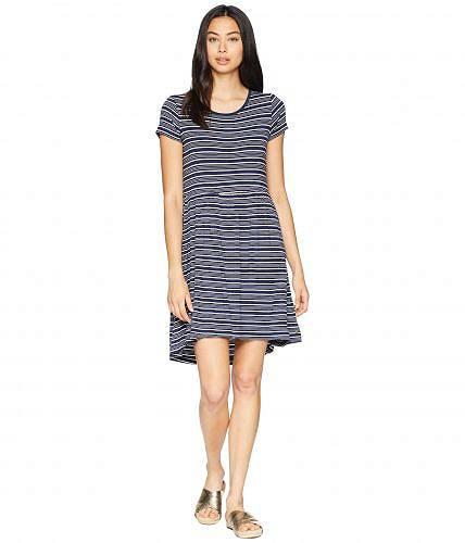 送料無料 ロキシー Roxy レディース 女性用 ファッション ドレス パーティドレス Fame For Glory Short Sleeve Dress - Dress Blues Horizontal Stripes