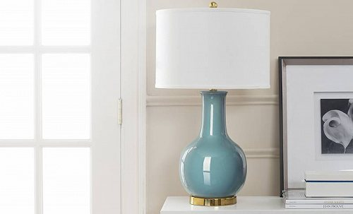 Safavieh Ceramic パリ Solid 27.5 in. H Table Lamp w/ Shade Light Blue/Off White Shade テーブルライト 照明器具 アメリカ【送料無料】【代引不可】【あす楽不可】