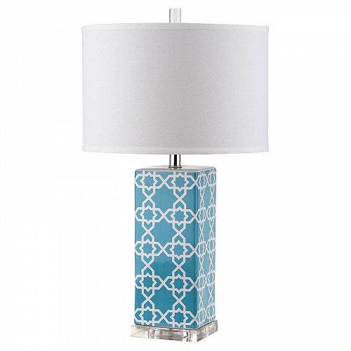 Safavieh 27 in. H Quatrefoil H Ceramic Geometric Table Lamp Light Blue/Off White Shade テーブルライト 照明器具 アメリカ【送料無料】【代引不可】【あす楽不可】