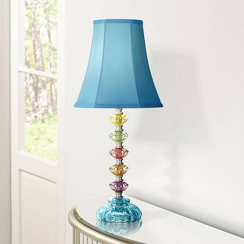 【5%OFF】 360 Lighting ボヘミアン Accent Table Lamp Stacked Clear Colored Glass Teal Blue Bell Shade for キッズ 子供 Room Bedroom Bedside テーブルライト 照明器具 アメリカ【送料無料】【】【】, タイトウク 2b93d7ec