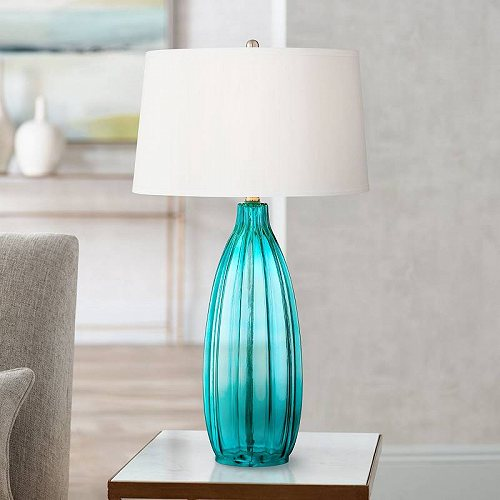360 Lighting Modern Table Lamp Clear Blue Fluted Glass White Drum Shade for Living Room Family Bedroom Bedside Nightstand テーブルライト 照明器具 アメリカ【送料無料】【代引不可】【あす楽不可】