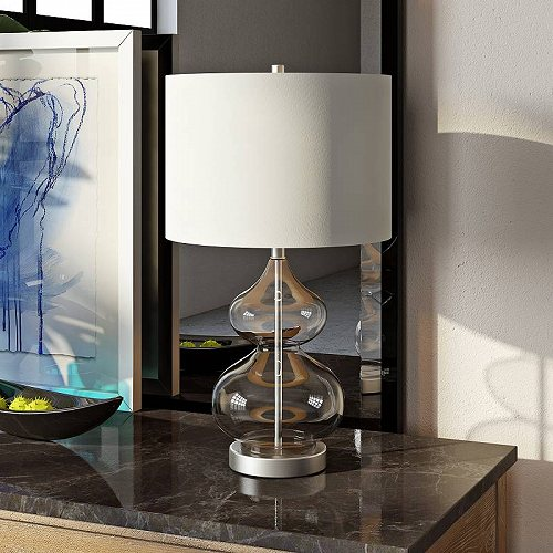 Hudson&Canal Katrin Modern Coastal Double Gourd Table Lamp in Nickel メッキ Glass Clear テーブルライト 照明器具 アメリカ【送料無料】【代引不可】【あす楽不可】