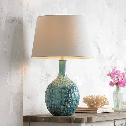 360 Lighting Mid Century Modern Table Lamp Teal Ceramic Gourd White Fabric Empire Shade for Living Room Family Bedroom Bedside テーブルライト・ランプ 照明器具 アメリカ【送料無料】【代引不可】【あす楽不可】
