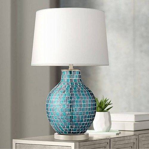 360 Lighting Modern Table Lamp Mosaic Teal Tiles Glass Jar Shaped White Drum Shade for Living Room Family Bedroom Bedside テーブルライト・ランプ 照明器具 アメリカ【送料無料】【代引不可】【あす楽不可】