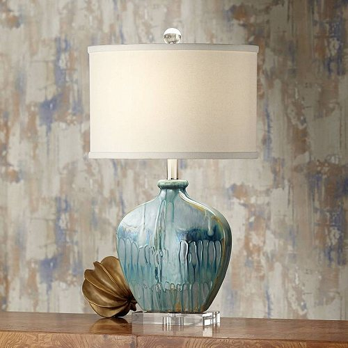Possini Euro Design Coastal Table Lamp Blue Drip Ceramic Off White Oval Shade for Living Room Family Bedroom Bedside Nightstand テーブルライト・ランプ 照明器具 アメリカ【送料無料】【代引不可】【あす楽不可】