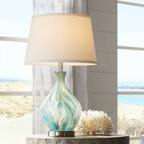 360 Lighting Modern Accent Table Lamp Blue Gray Glazed Art Glass Off White Drum Shade for Living Room Bedroom Bedside Nightstand テーブルライト・ランプ 照明器具 アメリカ【送料無料】【代引不可】【あす楽不可】
