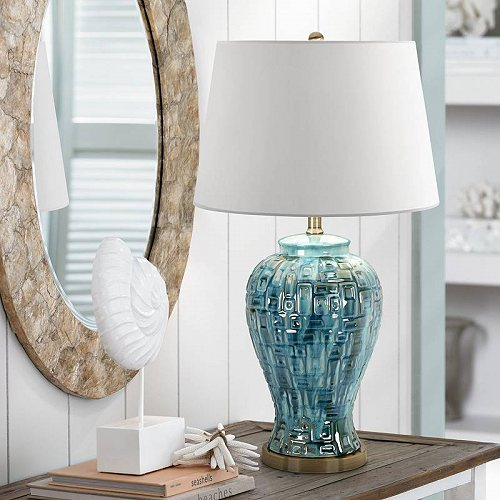 Possini Euro Design Asian Table Lamp Ceramic Teal Glaze Patterned Temple Jar White Empire Shade for Living Room Family Bedroom テーブルライト・ランプ 照明器具 アメリカ【送料無料】【代引不可】【あす楽不可】