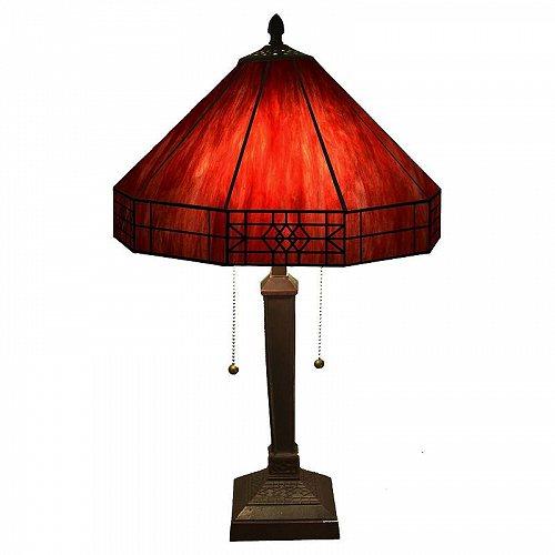 Warehouse of Tiffany Maeve Tiffany-style 2-light Table Lamp Red テーブルライト・ランプ 照明器具 アメリカ【送料無料】【代引不可】【あす楽不可】