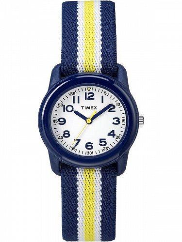 Timex タイメックス Kids' Green Analog ウォッチ 腕時計 Elastic Fabric Strap Blue/Yellow スヌーピー 腕時計【送料無料】【代引不可】【あす楽不可】
