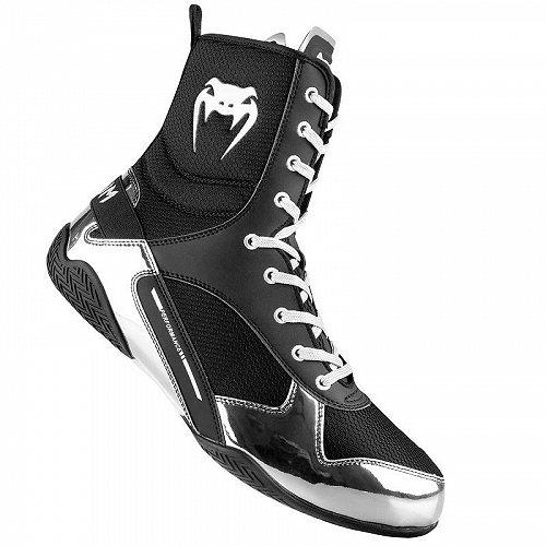 Venum ヴェナム Elite Boxing 靴 シューズ Black/Silver ヴェナム ボクシング【送料無料】【代引不可】【不可】
