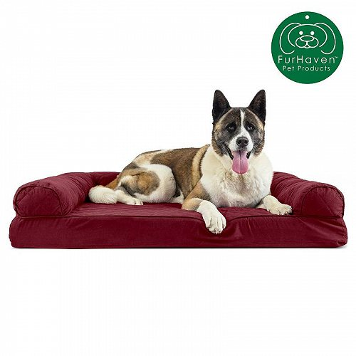 Furhaven Pet Products FurHaven Pet Dog Bed | Quilted Couch Sofa-Style Pet Bed for Dogs & Cats Jumbo Orthopedic Foam Wine Red ペット ベッド・ソファー【送料無料】【代引不可】【不可】