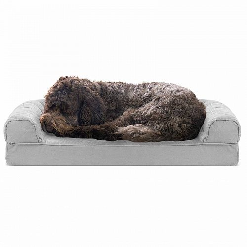 Furhaven Pet Products FurHaven Pet Dog Bed | Quilted Couch Sofa-Style Pet Bed for Dogs & Cats Jumbo Orthopedic Foam Silver Gray ペット ベッド・ソファー【送料無料】【代引不可】【不可】