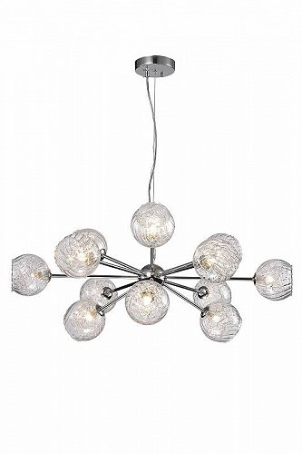 Warehouse of Tiffany Ginherd Chrome 12-Light Satellite Chandelier with Clear Twisted Rib Glass Shades おしゃれ シャンデリア【送料無料】【代引不可】【あす楽不可】