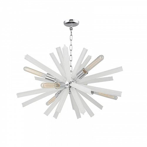 Y Decor Currier 9 Light Sputnik Chandelier in Chrome and White Crystals おしゃれ シャンデリア【送料無料】【代引不可】【あす楽不可】