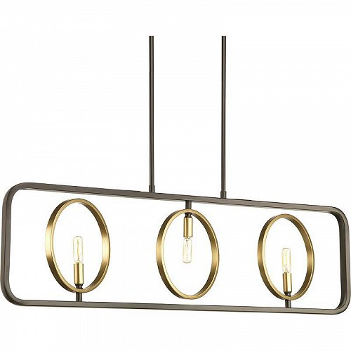 Progress Lighting ゆりかご ブランコ コレクション Three-Light Linear Chandelier おしゃれ シャンデリア【送料無料】【代引不可】【あす楽不可】