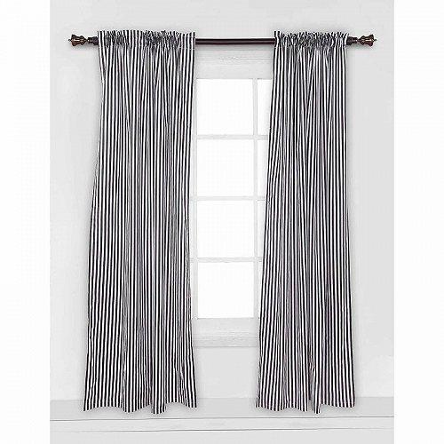 Bacati Black & White Pin Stripes Single Curtain Panel 42 x 84 inches 100% コットン 綿 Percale Fabrics 子供部屋 カーテン 【送料無料】【代引不可】【あす楽不可】
