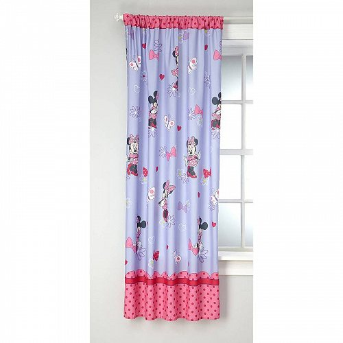 Disney ディズニー ミニーマウス 女の子用 Bedroom Curtain Panel 63-inches in L 子供部屋 カーテン 【送料無料】【代引不可】【あす楽不可】