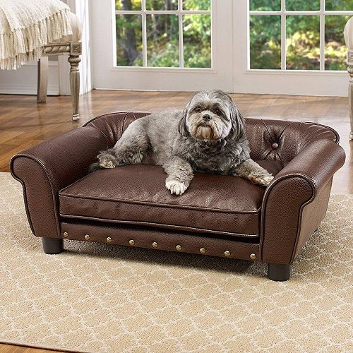 Enchanted Home Pet Tufted Sofa Pet Dog Bed Medium Brown ペット ベッド・ソファー【送料無料】【代引不可】【不可】