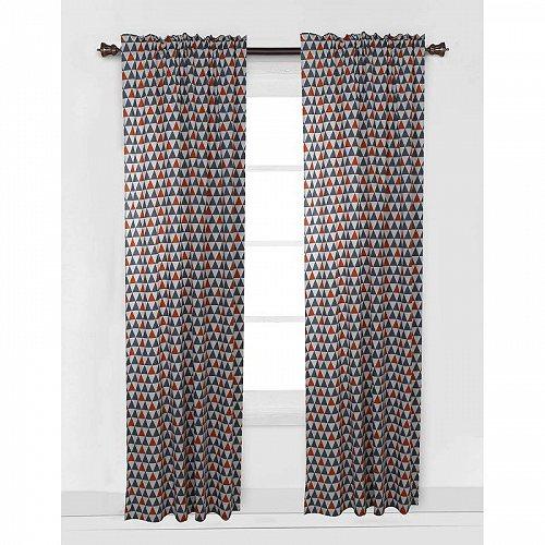 お祝いやプレゼントにも Bacati 信憑 Triangles Orange Gray 公式ショップ Curtain Panel 42 x 84 inches Percale 綿 100% 代引不可 送料無料 コットン あす楽不可 子供部屋 Fabrics カーテン