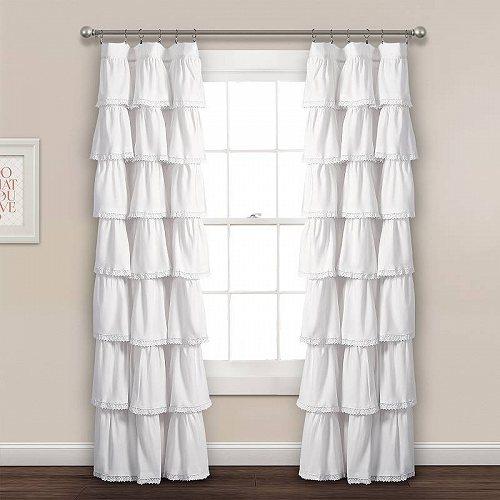 Lush Decor Lace Ruffle Window Curtain Panel White 52x84 子供部屋 カーテン 【送料無料】【代引不可】【あす楽不可】