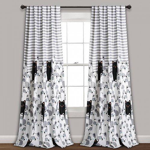 お祝いやプレゼントにも Lush Decor ストライプ Bear Room Darkening Window Curtain Panels in Gray 送料無料 Black 宅送 L 2 無料サンプルOK 84-inches Set 子供部屋 代引不可 カーテン of あす楽不可