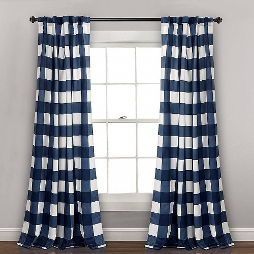 Lush Window カーテン Navy Room Set 2 in of Panels Checker 子供部屋 【送料無料】【代引不可】【あす楽不可】 Curtain in Darkening 84-inches Kelly Decor L